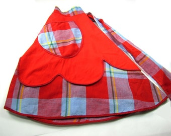 Vintage Red and Blue Plaid Reversible Half Apron