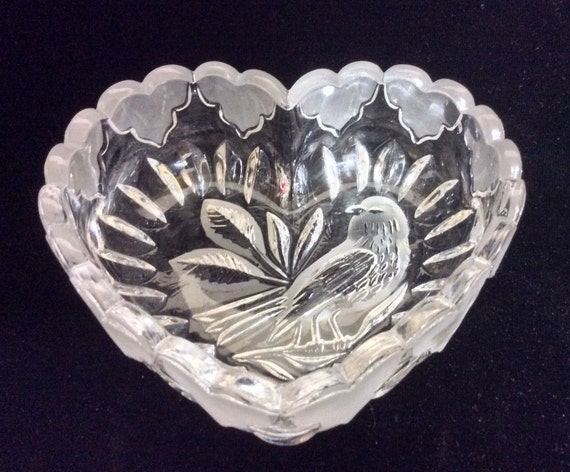 Valentine's Day Candy Dish, Valentine Decor Heart Dish,  Hofbauer Crystal Byrdes Lead Crystal, Hearts Gift For Her