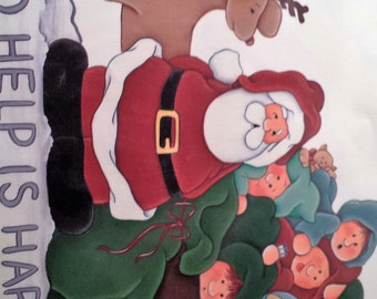 Ragamuffins vintage  Iron on transfer with santa and his helpers