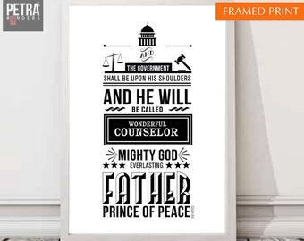 Bible verse Print, Isaiah 9:6 Scripture Art Home decor. Typographic wall art