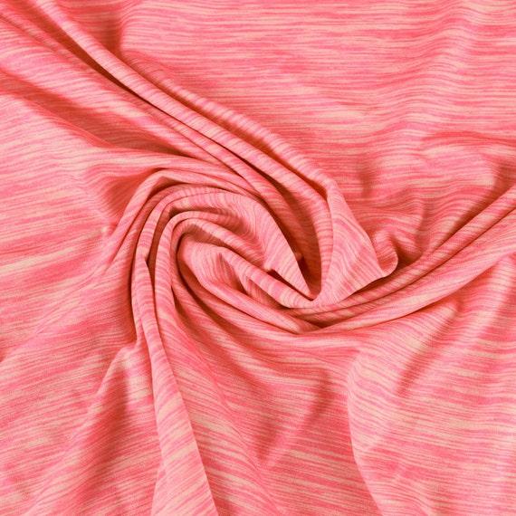 Coral space dye poly spandex performance knit fabric for for Space dye knit fabric by the yard