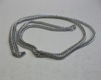 "Vintage Made In Germany Silver Tone Long Chain 54' long Hangs at 27"", S"