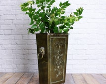 Brass Trash Can with Lion Head Handles - Small Brass Trash Can - Stamped Brass Trash Can - Square Brass Vase with Lion Head Handles