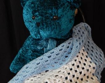 Blue & White Granny Square Crochet Baby Blanket