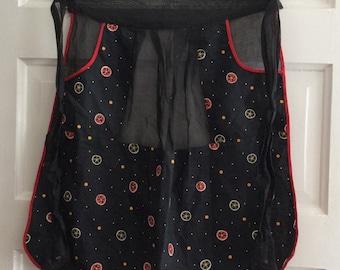 Vintage Black Patterned Apron, Retro Apron, unusual apron