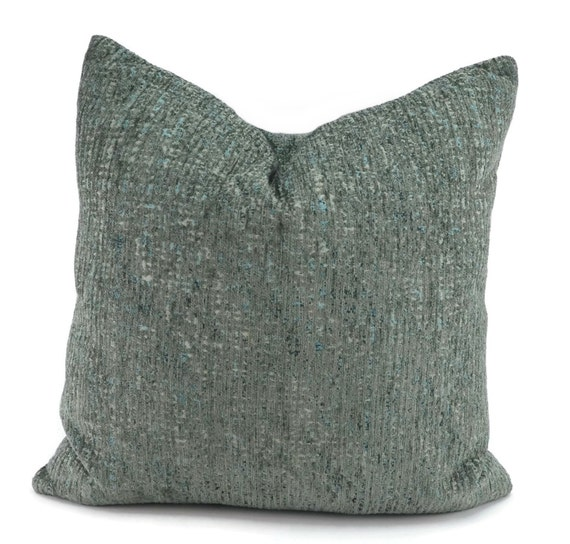 Throw Pillow Cover Blue Gray Turquoise Chenille Throw