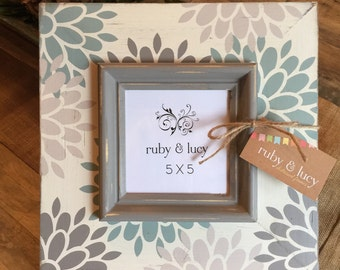 custom modern floral distressed 5x5 picture frame | duck egg blue| friend gift | birthday | wall decor | gallery wall | gift for her or him