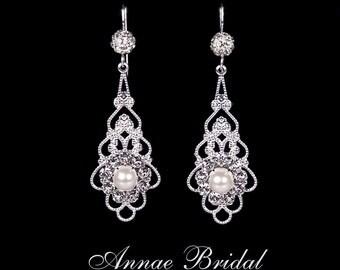 "Bridal earrings, wedding jewelry, White pearl and rhinestone earrings, Swarovski, silver, ""Graceful Princess"" earrings"