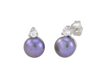 7mm Black Pearl Stud Earrings with White CZ .925 Sterling Silver