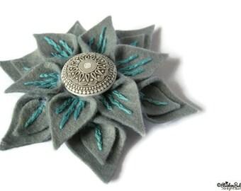 Flower Brooch - Slate and Seafoam - Handmade Grey, Turquoise Embroidered Felt Flower Brooch, Felt Flower, Flower Brooch, Flower Pin, UK