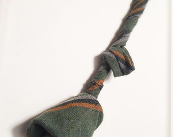 Green Striped Upcycled Necktie Rose