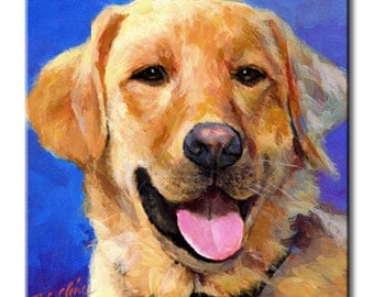 Golden Retriever Art Tile Print on Ceramic with Hook or with Feet Indoor Use -Gift for Dog Lovers