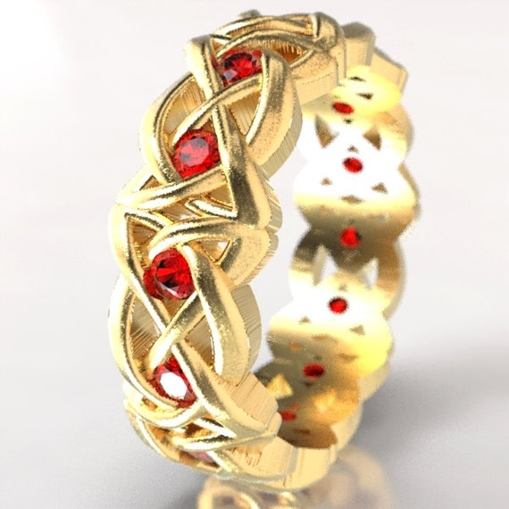 Gold Celtic Cut-Through Dara Style Knot Design with Rubies in 10K 14K 18K or Palladium, Made in Your Size Cr-1064