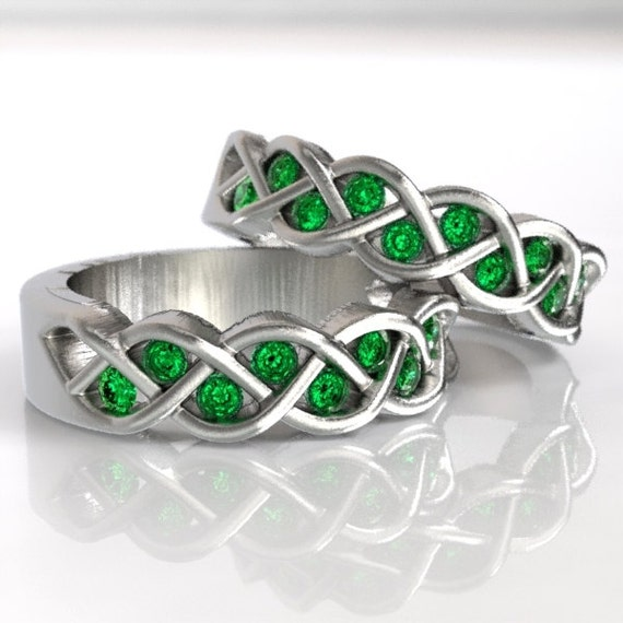 Celtic Knot Emerald Wedding Ring Set, His and Hers Wedding Rings, Emerald Ring Silver, 925 Sterling Silver Wedding Set, In Your Size CR-1005