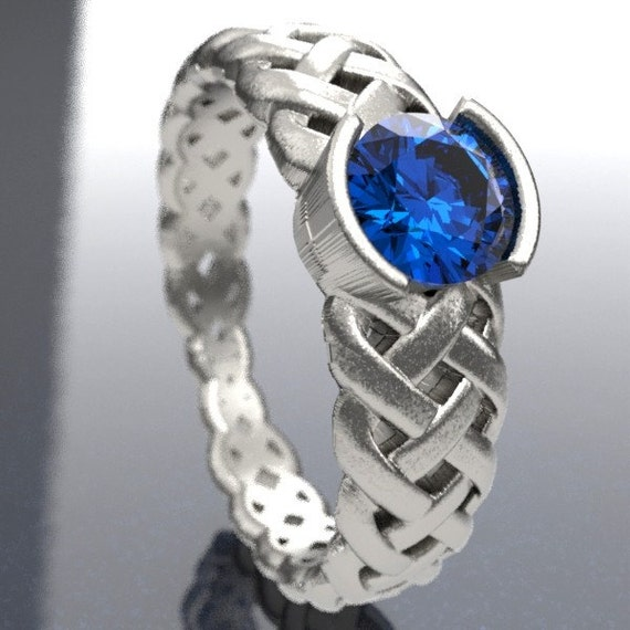 Celtic Blue Sapphire Engagement Ring With Braided Cut-Through Knotwork Design in Sterling Silver, Made in Your Size CR-760