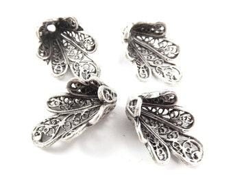 4 Flourish Filigree Beadcaps - Matte Antique Silver Plated