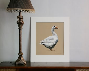 Goose - Limited edition giclee print of a goose from original pastel drawing by Imogen Man