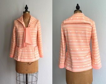 Vintage 1960s Sailor Top / 60s 70s Nautical Peach Citrus Middy Ascot Tie Front Pocket Top Orange Geometric Print / Sail Away Top - Small S