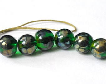 Golden Green 6 Handmade Lampwork Beads