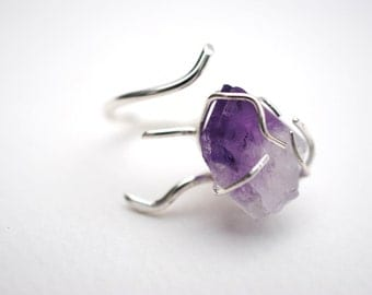 Amethyst Roots Prong Set Branch Ring (Nature Inspired Stone Set Ring with Purple Amethyst in Sterling Silver Roots Lips Setting)