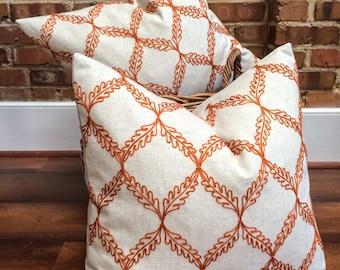 "Orange and Cream Lattice Designer Pillow Cover, Embroidered Pillow- Trellis Pillow- Drifter Tangerine- Throw Pillow- Holds 22"" Insert"