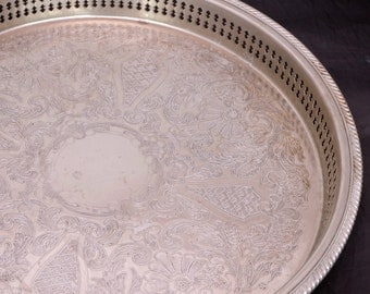 """Vintage Round 15"""" Silver Plated Gallery Tray, English Silver Tray, Chased Silver Serving Tray, Silver Butlers Tray, Silver Coffee Table Tray"""