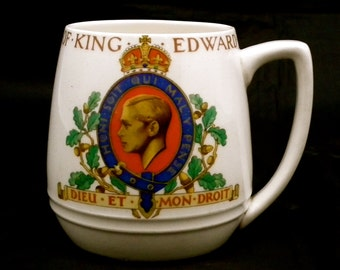 King Edward VIII Mug, Coronation of King Edward VIII 1937, Collectible Royal Mug, English Royal Family, Royal Souvenir,  English Royalty