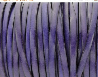 ON SALE 5MM Purple/BlackFlat Leather Cord - Top Quality Leather