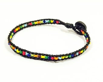 Glass Beads Bracelet - Multicolor Piece From Past