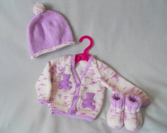 Baby Girl Cardigan Set, Hand Knitted  Baby Coat, Jacket, Hat and Shoe Set, Baby Lilac Cardigan,  Baby gift, Baby Girl Gift, Baby Shower Gift
