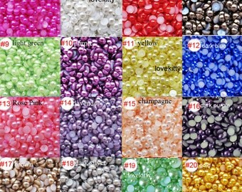 Flatback resin Pearl Cabochons  24 colors to choose / choose size 2mm ,3mm 4mm 5mm 6mm 8mm 10mm 12mm