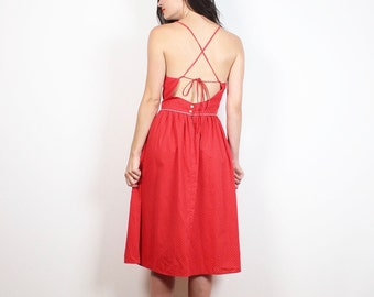 Vintage 80s Sundress Red White Polka Dot Backless Dress Halter Dress 1980s Lace Up Crossed Open Back Midi Dress Preppy Day Dress XS S Small