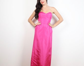 Vintage 80s Prom Dress Bright Pink Taffeta Strapless Bustier Sweetheart Neckline 1980s Prom Gown Maxi Dress Rad Bridesmaid Dress XS S Small
