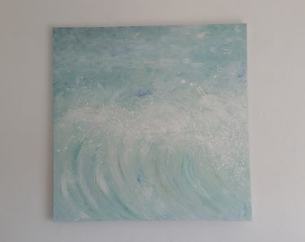 Spring sea surf abstract painting 90cm x 90cm