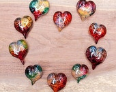 20 glass paperweight hearts