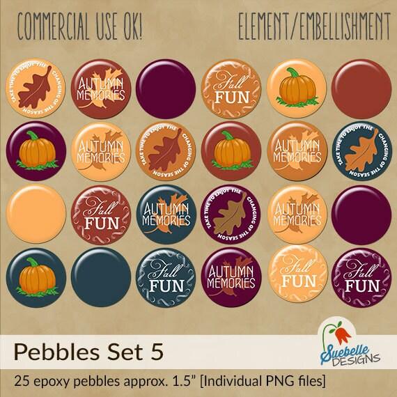 Digital Scrapbooking Embellishments • Pebbles Set 5 • Autumn Time Fun