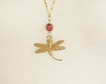 necklace, dragonfly, golden, bead, jewelry, charm style, C, jewelry