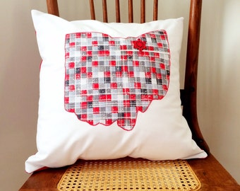 Ohio Pillow  Scarlet and Gray Christmas Pillow - State of Ohio Pillow Cover