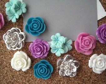 Thumbtack Set, 12 pc Flower Pushpins, Lilac, Teal, White and Aqua, Office Supply, Bulletin Board Thumbtacks, Wedding Decor, Small Gift