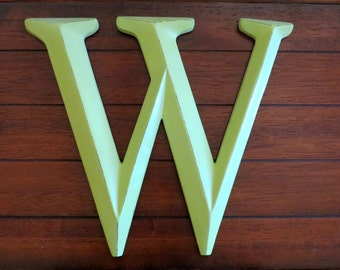 Letter W / Pick Your Own Letter / Wall Letter / Apple Green or Pick Color / Wall Mantle Decor / Nursery Letters / Initials / Large Letters