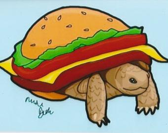 4x6 Print Turtle In A Burger Costume #Drawlloween 2015