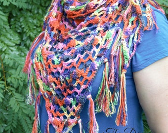 Rainbow of Colors Scarf Hand-Crocheted, Sale, Wrap, Lacy, Shoulder Wrap, Shrug, Gift for Her, TheGriffinsCreations