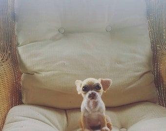 Pet Portrait, Needle felted realistic chihuahua. Ready to buy