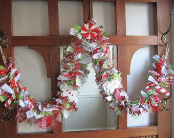 Bright Christmas Garland Cloth Rag Garland Festive Garland Red and Lime Green Christmas