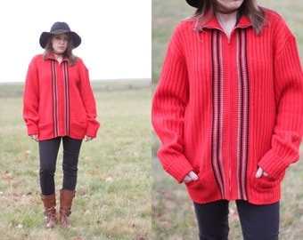 1950s red zip up sweater