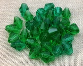 50 Green Czech Bicone Glass Beads 7mm