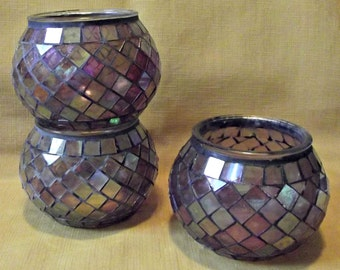 Stained Glass Candle Holder Votive Candle Holder Set of 3