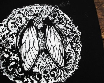 Small Cicada Wing Doily Print White on Black