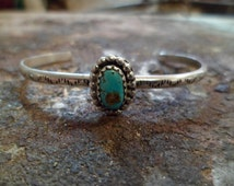 Authentic Navajo,Native American Southwestern sterling silver turquoise bracelet. Small