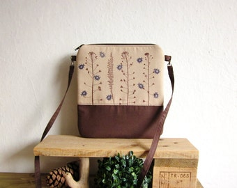 Small size naturalistic handbag, Crossbody green bag, Clutch Purse, Hand printed cotton, beetle stamp, plants stamp